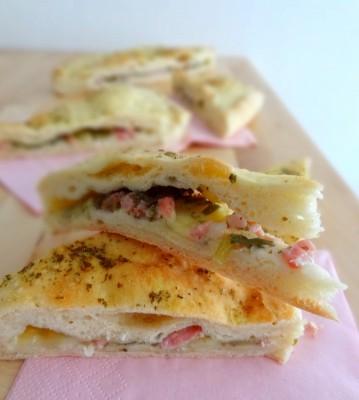 Foccacia aux lardons et mozzarella