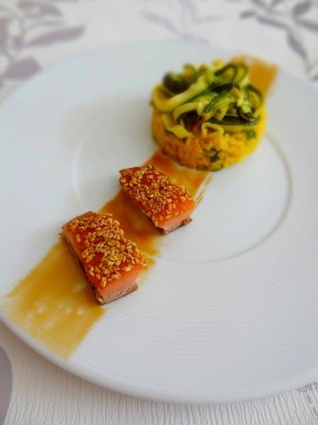 Saumon teriyaki et risotto aux courgettes