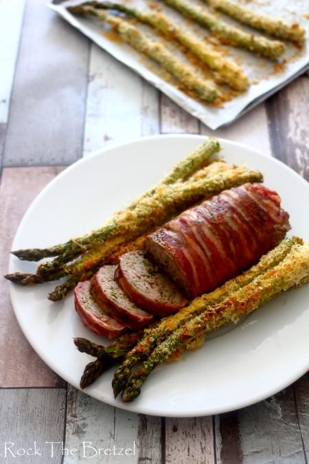 Pain de viande, asperges au parmesan