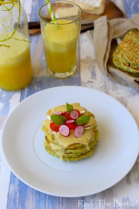 Pancakes ricotta courgettes brie
