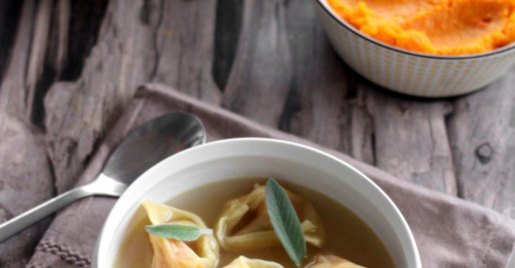 Tortellini au potiron, bouillon de poule maison