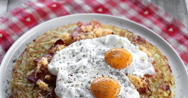 Rösti «Chrüüzbode-chlapfhöchi» (ou roesti bacon et œufs, version géante)