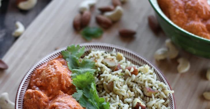 Butter Chicken et son riz aux fruits secs