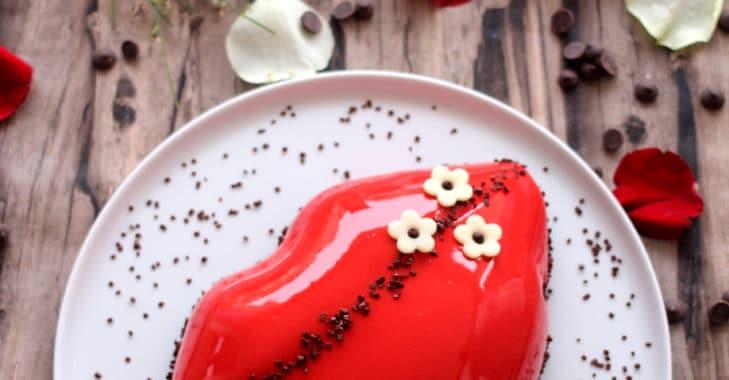 Entremets des amoureux au chocolat noir et framboises