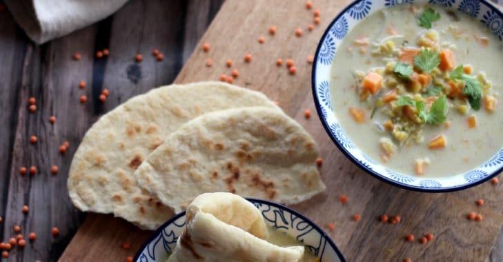 Soupe de lentilles à la patate douce et au lait de coco