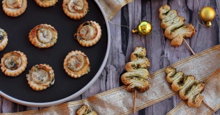 Apéritifs rapides et faciles pour les fêtes de Noël: feuilletés sapins au pesto, feuilletés boudins pommes, feuilletés banane roquefort
