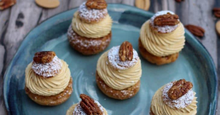 Chou à la vanille, Dulcey et noix de pécan caramélisées